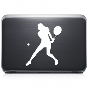 Girl Women Tennis Sports REMOVABLE Vinyl Decal Sticker For Laptop Tablet Helmet Windows Wall Decor Car Truck Motorcycle - Size (05 Inch / 13 Cm Tall) - Colour