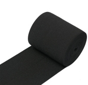 RERIVER 7.6cm Wide Black Heavy Knit Stretch ELASTIC 5 Yards