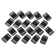 25mm Black Plastic Triglides Luggage Bag Side Buckles Fastener Webbing Adjuster Pack Of 20