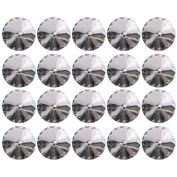 20mm Crystal Glass Diamante Upholstery Decor Sew On Buttons With Metal Loop Base Pack Of 20