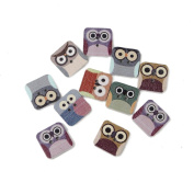 Small Novelty Cute Owl Wood Wooden Button Sewing DIY Craft Animal Scrapbook 50pcs 2holes