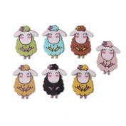 Personalised Wood Wooden Animal Buttons Sheep Shape Sewing DIY Craft Scrapbook 50pcs