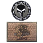 Embroidery ILLINOIS State Flag and Punisher Tactical patches