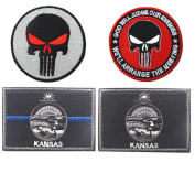 Embroidery KANSAS State Flag and Punisher Tactical patches