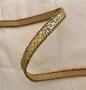 1cm Glitter Synthetic Leather Tape with Gold Chain each side in Gold Price Per 5 Yards