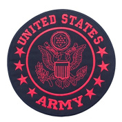 UNITED STATES ARMY Black w/ Red 25cm Iron On Centre Patch for Motorcycle Rider or Bikers US Veterans Vest