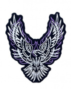 Flaming Phoenix Purple Iron On Centre Patch for Motorcycle Rider or Bikers Veteran Vest