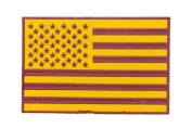 U.S Flag Gold w/ Sienna 19cm x 13cm Iron On Centre Patch for Motorcycle Rider or Bikers Veteran Vest