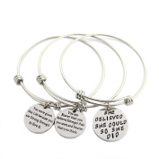 Life's Beautiful Womens Girls Graduation Gift Engraved Message Motivational Charm Bracelets Set Expandable Silver Plated Inspirational Bangle Bracelet with Gift Box