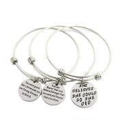 Life's Beautiful Womens Girls Graduation Gift Engraved Message Motivational Charm Bracelets Set Expandable Silver Plated Inspirational Bangle Bracelet with Gift Box