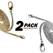 [2-PACK] Kroo Gold & Silver 60cm Long Mini Purse/Shoulder/Cross Body Bag Replacement Metal Strap
