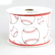Baseball Wired Ribbon Red Black and White 6.4cm X 10 Yards