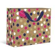 Gold Navy and Pink Dots Large Gift Bag