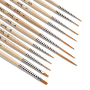 Jerry Q Art 12 Pcs Detail Paint Brushes, Golden Synthetic Hair, High Performance for Oil, Acrylic and Watercolour JQ-503