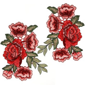 OPount 2 Pieces Embroidery Lace Flower Applique Sew On Patch 5 Roses on a Branch For Craft, Sewing, Clothing, Scrapbooking Decoration