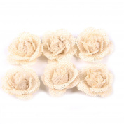 Junxia Natural Burlap Flowers for Wedding Party Decoration(6pcs)