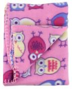 Soft Fleece Receiving Baby Blanket 80cm x 80cm by bogo Brands Pink Owls