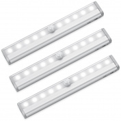 Amir 10 LED Motion Sensing Closet Lights, 3 Pack DIY Stick-on Anywhere Portable 10-LED Wireless Cabinet Night/ Stairs/ Step Light Bar with Magnetic Strip