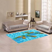 JC-Dress Area Rug Pineapples Floating In Pure Water Modern Carpet 1.5mx0.9m