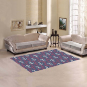 JC-Dress Area Rug Cover Anchor Pattern Modern Carpet Cover 1.5mx0.9m