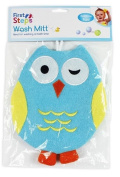 BLUE TERRY LINED KIDS OWL BATHTIME WASH MITS