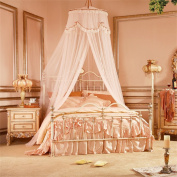 HOME UK- Dome Mosquito Net Encryption Thickening Home Double Bed Princess Style Apricot Colour