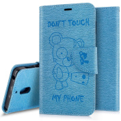Case for Nokia 6, Leather Flip Case for Nokia 6, Wallet Case for Nokia 6,Ukayfe [Embossed Cartoon Chainsaw Bear, Don't Touch My Phone] Pattern Premium PU Leather Magnetic Flip Case Cover Pouch Protective Case with Card Slot and Strap For Nokia 6 , Blue