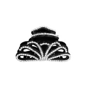 OMYGOD Large black hair claw clamp clip with crystals - 8cm x 5cm x 4.4cm