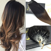Sunny Ombre Micro Ring Beads Remy Human Hair Extensions Black to Brown Unprocessed Hair Extensions Micro Loops 50g 50cm 1g/strand