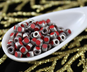 NEW SHAPE 10g Coral Red Old Matte Silver 3 Cut Matubo 6/0 Czech Glass Large Hole Seed Beads Spacer 4mm