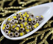 NEW SHAPE 10g Lemon Yellow Old Matte Silver 3 Cut Matubo 6/0 Czech Glass Large Hole Seed Beads Spacer 4mm