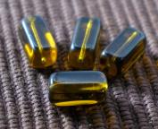 Dark Yellow Crystal Czech Glass Short Square Tube Beads Bohemian 15mm x 7mm 8pcs