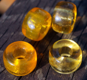 Clear Yellow Large Hole Glass Beads Yellow Round Beads Large Yellow Roller Beads Czech Glass Bead 16mm x 10mm Large Hole Beads 2pc
