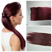 Hot Sales. Meisi Hair Remy Human Hair Extensions Tape In/On Extensions Hair 50 cm 2,5g 4 cm 20 1 Premium Hair Colour Wine Red # 99J