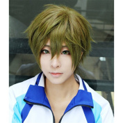 LanTing Cosplay Wig Free! Swim Club Makoto Tachibana Wigs Corta Linen Green Cosplay Party Fashion Anime Human Costume Full wigs Synthetic Haar Heat Resistant Fibre