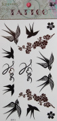 GRASHINE hot selling Waterproof and non toxic Swallow and Plum temporary tattoo stckers