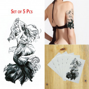 COKOHAPPY 5 Sheets Temporary Tattoo , Large Tattoo Mermaid Flash Tattoos