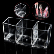Acrylic Cosmetics Storage Organiser, 3 Makeup Brush Stand Makeup Case Make Up Case Makeup Box with Large Capacity for Makeup Brushes Lipstick Makeup Tools, 18.2 * 7.2 * 8cm