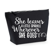 She Leaves A Little Sparkle Wherever She Goes Statement Make Up Bag - Cosmetic Canvas Case