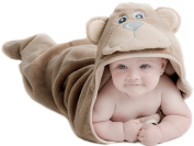 Little Tinkers World Bear Hooded Baby Towel, Natural Cotton, Large 80cm x 80cm size