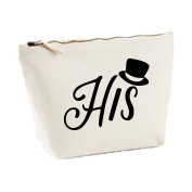 'His' Tophat Icon His And Hers Matching Set Canvas MakeUp Bag Toiletries Case Cosmetic Clutch (Matching Her Bags Available), Natural, Small