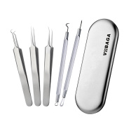 Blackhead & Blemish Remover Kit Curved Blackhead Tweezers Kit Pimple Comedone Extractor Tool Set Treatment for Blemish , Acne,Whitehead Popping,Zit Popper By vobaga