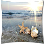 A-SLLE Square Decorative Throw Pillow Case Cushion Cover Ocean Park Beach Theme Starfish 18 X 18 Two Sides Printed 43