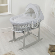 Luxury British Made Grey Wicker Moses Basket With Thick Grey Popcorn Dressing. Inc Grey Rocking Stand