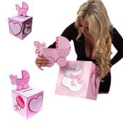 Adorox Pink Girl Baby Shower Wishing Well Card Box Decoration Cute Pretty Keepsake Carriage Rattle