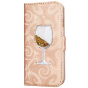 iPhone 6S Case,iPhone 6 6S Wallet Case, PHEZEN Bling Liquid Glitter Love Heart Floating 3D Wine Glass Luxury Pu Leather Magnet Flip Case Cover with Credit Card Slots for iPhone 6/6S 12cm , Gold