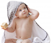 Premium Bamboo Baby Hooded Towel, Extra Soft and Large 35x35, Hypoallergenic, Sized for Toddler, Boys, Girls, Polka Dot