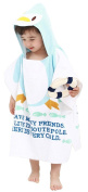 Fakeface All Cotton Animal Cartoon Style Print Hooded Bath Wrap Coat Travel Holiday Beach Swimming Pool Sauna Spa Poncho Bathing Towel for Infant Baby Kids 0-7 Years Old (60cm x 120cm )-Penguin