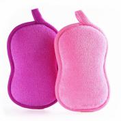BabaMate Natural Bamboo Baby Bath Sponge - 2 Pack - Ultra Soft & Absorbent Sponge For Baby's Sensitive Skin, Biodegradable, Hypoallergenic - Pink Violet