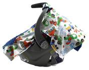 Dear Baby Gear Deluxe Carseat Canopy, Minky Print Trucks on Royal Blue